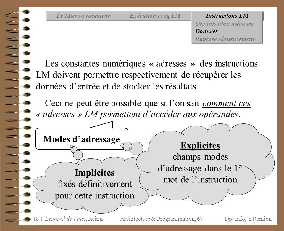 IUT Léonard de Vinci, ReimsDpt Info, Y.Remion Architecture & Programmation, 67 Instructions LMExécution prog LMLe Micro-processeur Organisation mémoir