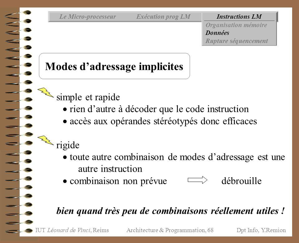 IUT Léonard de Vinci, ReimsDpt Info, Y.Remion Architecture & Programmation, 68 Instructions LMExécution prog LMLe Micro-processeur Organisation mémoir