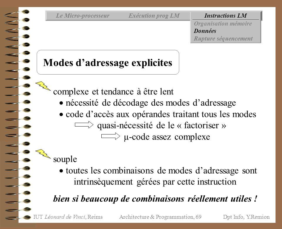 IUT Léonard de Vinci, ReimsDpt Info, Y.Remion Architecture & Programmation, 69 Instructions LMExécution prog LMLe Micro-processeur Organisation mémoir