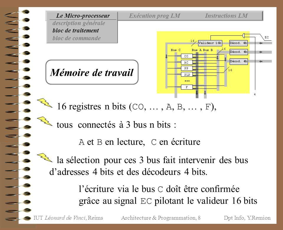 IUT Léonard de Vinci, ReimsDpt Info, Y.Remion Architecture & Programmation, 99 Opérateur unaire Opérateurs binaires  évaluation classique évaluation préalable des 2 opérandes  évaluation « paresseuse » évaluation de a si a absorbant (Vrai pour ou, Faux pour et) conclure (empiler a) sinon évaluer b et conclure (empiler b) Instructions LMExécution prog LMLe Micro-processeur Opérateurs booléens non a Organisation mémoire Données Rupture séquencement...