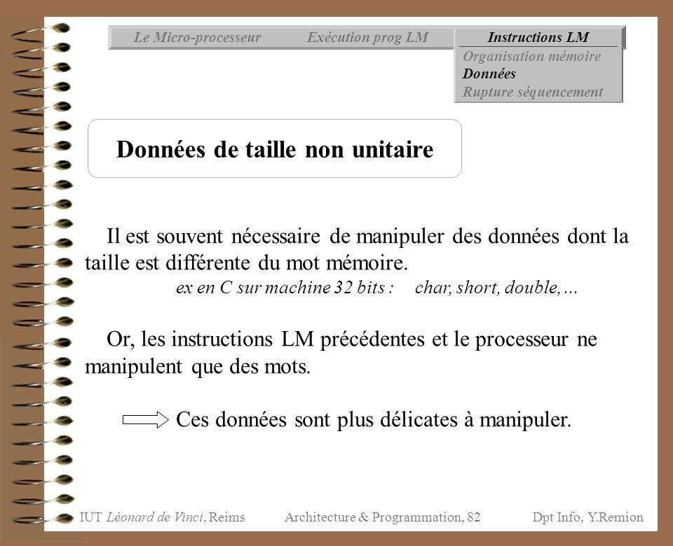 IUT Léonard de Vinci, ReimsDpt Info, Y.Remion Architecture & Programmation, 82 Instructions LMExécution prog LMLe Micro-processeur Organisation mémoir