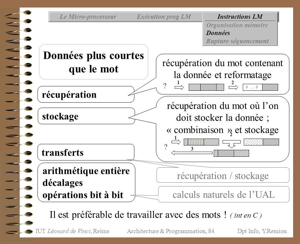 IUT Léonard de Vinci, ReimsDpt Info, Y.Remion Architecture & Programmation, 84 Instructions LMExécution prog LMLe Micro-processeur Organisation mémoir