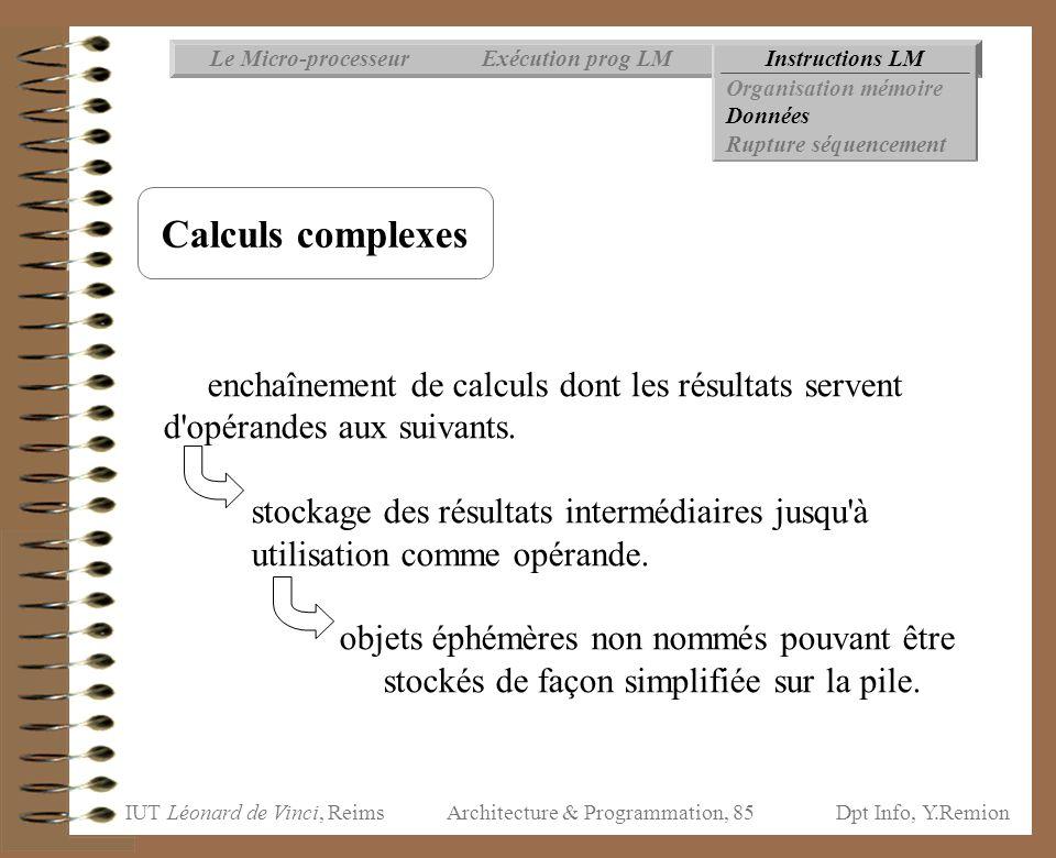 IUT Léonard de Vinci, ReimsDpt Info, Y.Remion Architecture & Programmation, 85 Instructions LMExécution prog LMLe Micro-processeur Organisation mémoir