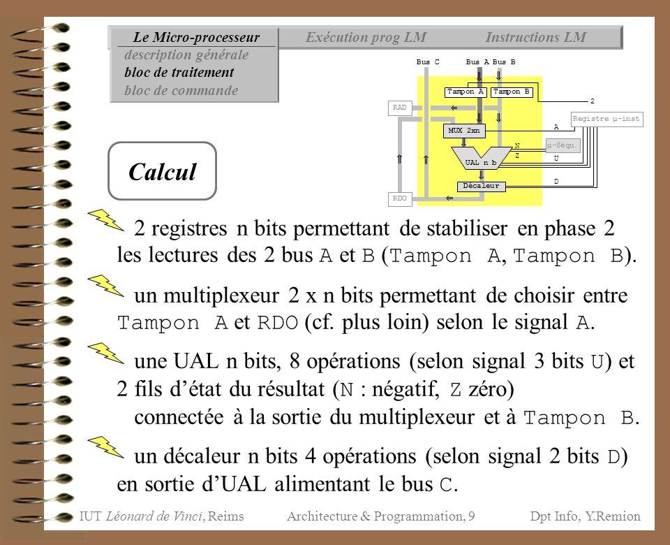 IUT Léonard de Vinci, ReimsDpt Info, Y.Remion Architecture & Programmation, 80 Instructions LMExécution prog LMLe Micro-processeur Organisation mémoire Données Rupture séquencement Instructions de calcul ClasseType(s) DyadiquesMonadiques arithmétiqueentiers ADD, SUB, MUL, (flottants)DIV, MOD OPP bit à bit[entiers]AND, OR, XOR NOT décalages[entiers]LSHIFT, RUSHIFT,RSSHIFT décalage à droite non signé décalage à droite signé