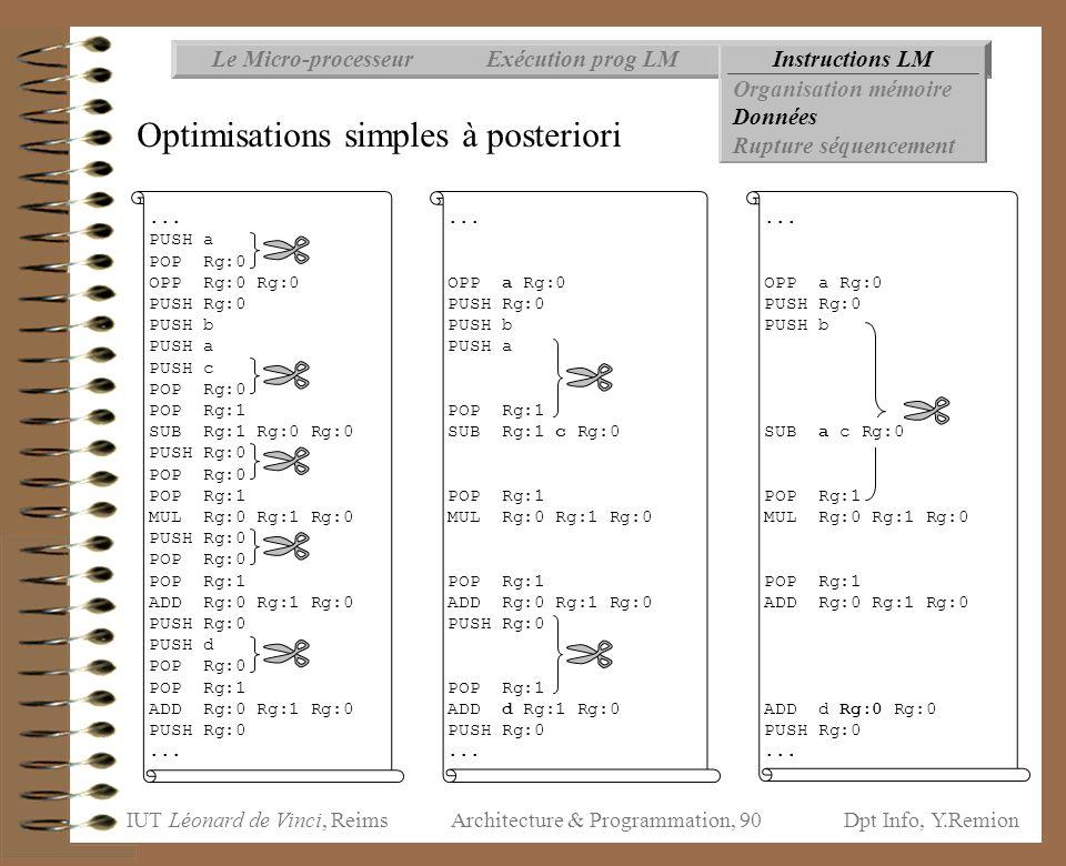 IUT Léonard de Vinci, ReimsDpt Info, Y.Remion Architecture & Programmation, 90 Instructions LMExécution prog LMLe Micro-processeur Organisation mémoir