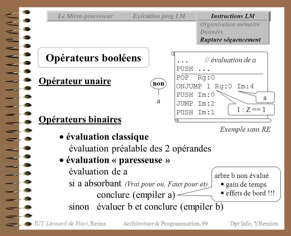 IUT Léonard de Vinci, ReimsDpt Info, Y.Remion Architecture & Programmation, 99 Opérateur unaire Opérateurs binaires  évaluation classique évaluation
