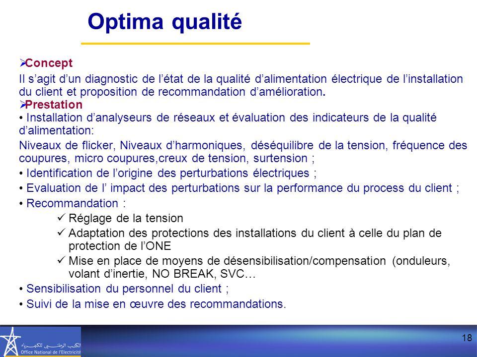 18  Concept Il s'agit d'un diagnostic de l'état de la qualité d'alimentation électrique de l'installation du client et proposition de recommandation d'amélioration.