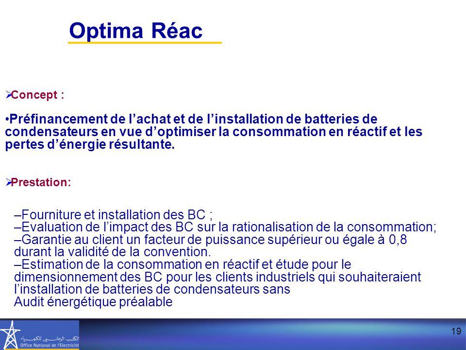 19  Concept : Préfinancement de l'achat et de l'installation de batteries de condensateurs en vue d'optimiser la consommation en réactif et les pertes d'énergie résultante.