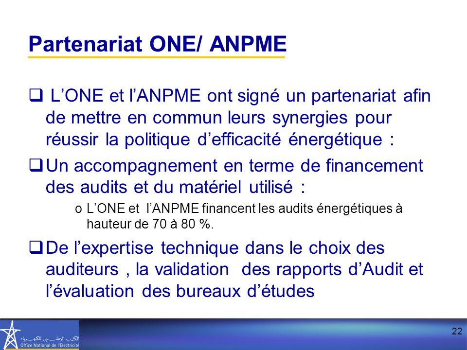 22 Partenariat ONE/ ANPME  L'ONE et l'ANPME ont signé un partenariat afin de mettre en commun leurs synergies pour réussir la politique d'efficacité énergétique :  Un accompagnement en terme de financement des audits et du matériel utilisé : oL'ONE et l'ANPME financent les audits énergétiques à hauteur de 70 à 80 %.