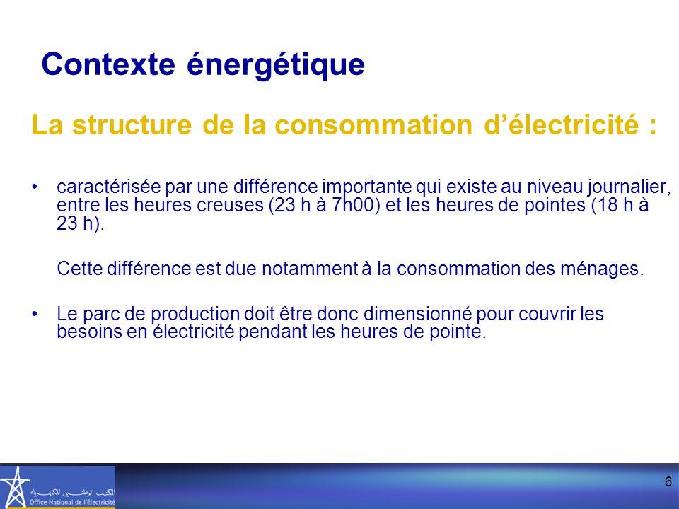 6 La structure de la consommation d'électricité : caractérisée par une différence importante qui existe au niveau journalier, entre les heures creuses (23 h à 7h00) et les heures de pointes (18 h à 23 h).