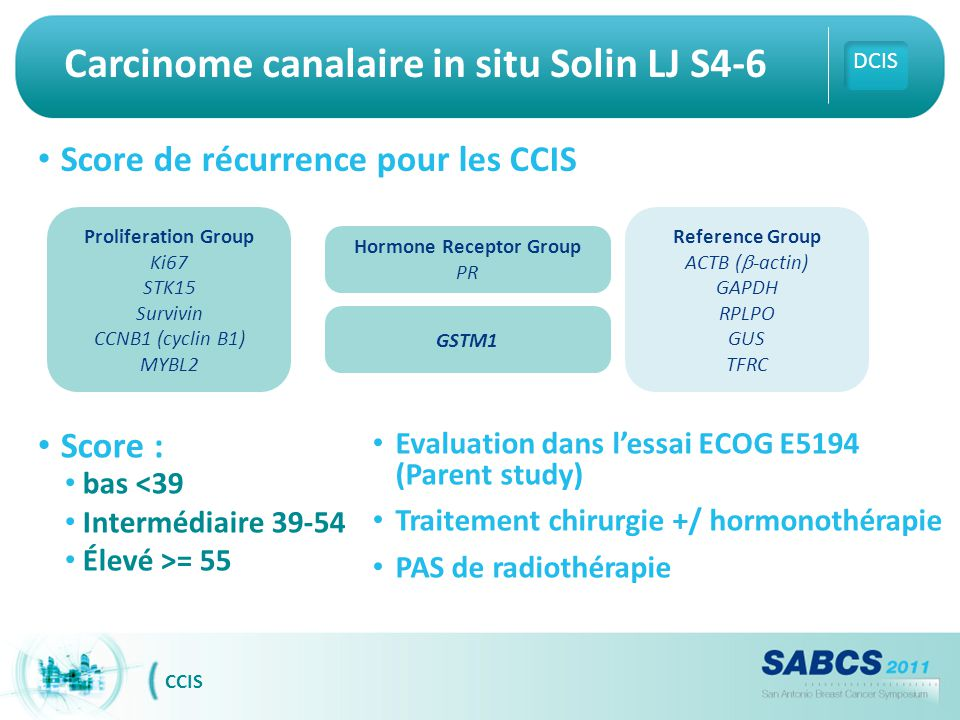 Carcinome canalaire in situ Solin LJ S4-6 Score de récurrence pour les CCIS DCIS CCIS Score : bas <39 Intermédiaire 39-54 Élevé >= 55 Evaluation dans