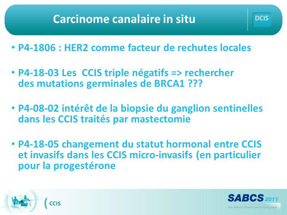 Carcinome canalaire in situ P4-1806 : HER2 comme facteur de rechutes locales P4-18-03 Les CCIS triple négatifs => rechercher des mutations germinales