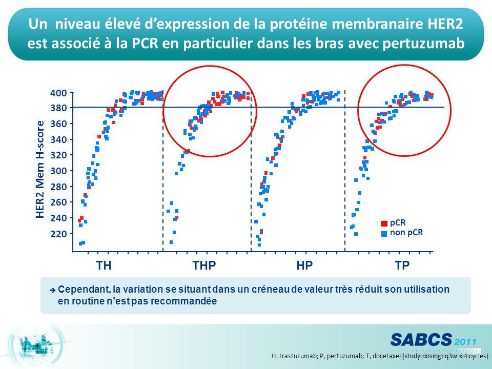 Un niveau élevé d'expression de la protéine membranaire HER2 est associé à la PCR en particulier dans les bras avec pertuzumab H, trastuzumab; P, pert