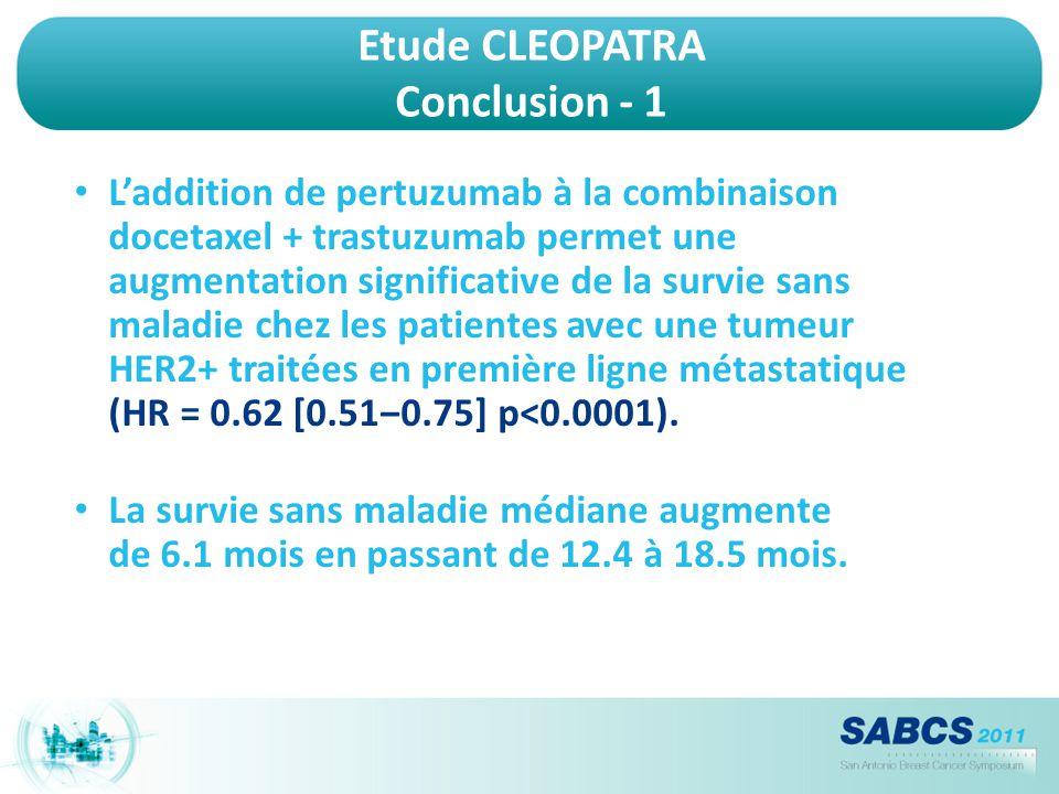 Etude CLEOPATRA Conclusion - 1 L'addition de pertuzumab à la combinaison docetaxel + trastuzumab permet une augmentation significative de la survie sa