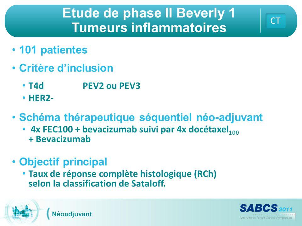 Etude de phase II Beverly 1 Tumeurs inflammatoires CT Néoadjuvant 101 patientes Critère d'inclusion T4dPEV2 ou PEV3 HER2- Schéma thérapeutique séquent