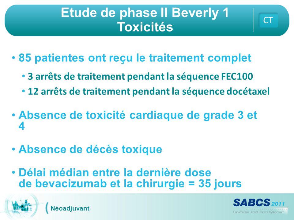 Etude de phase II Beverly 1 Toxicités CT Néoadjuvant 85 patientes ont reçu le traitement complet 3 arrêts de traitement pendant la séquence FEC100 12