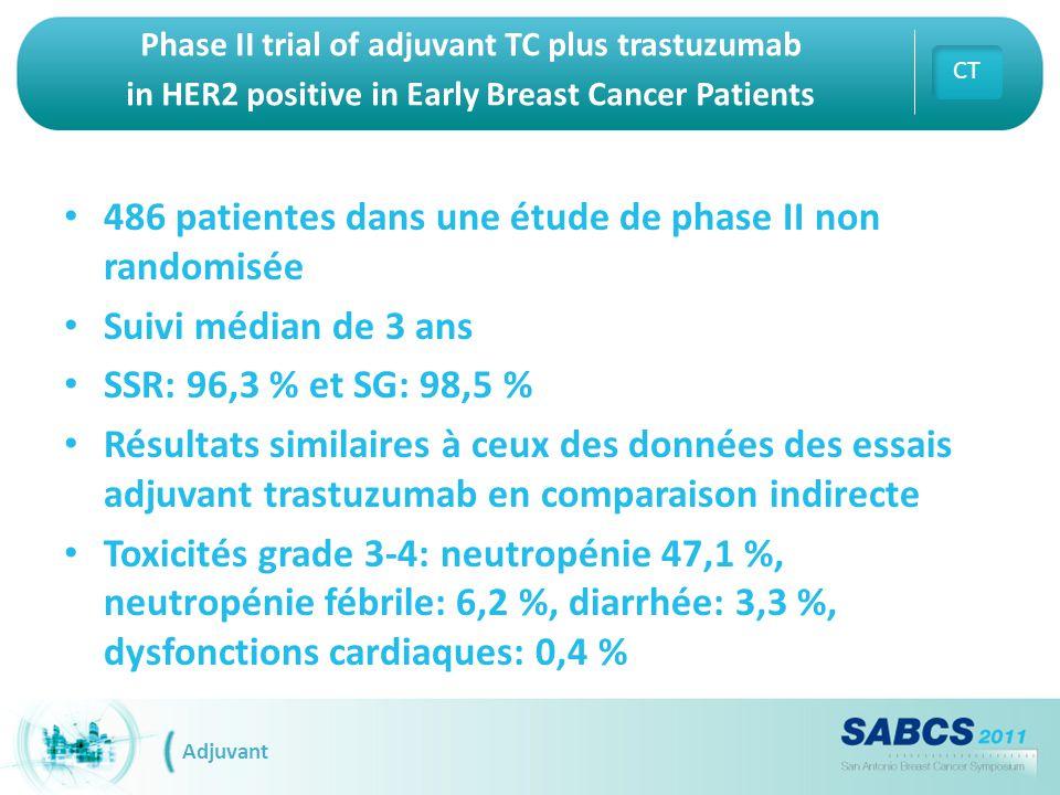 Phase II trial of adjuvant TC plus trastuzumab in HER2 positive in Early Breast Cancer Patients 486 patientes dans une étude de phase II non randomisé