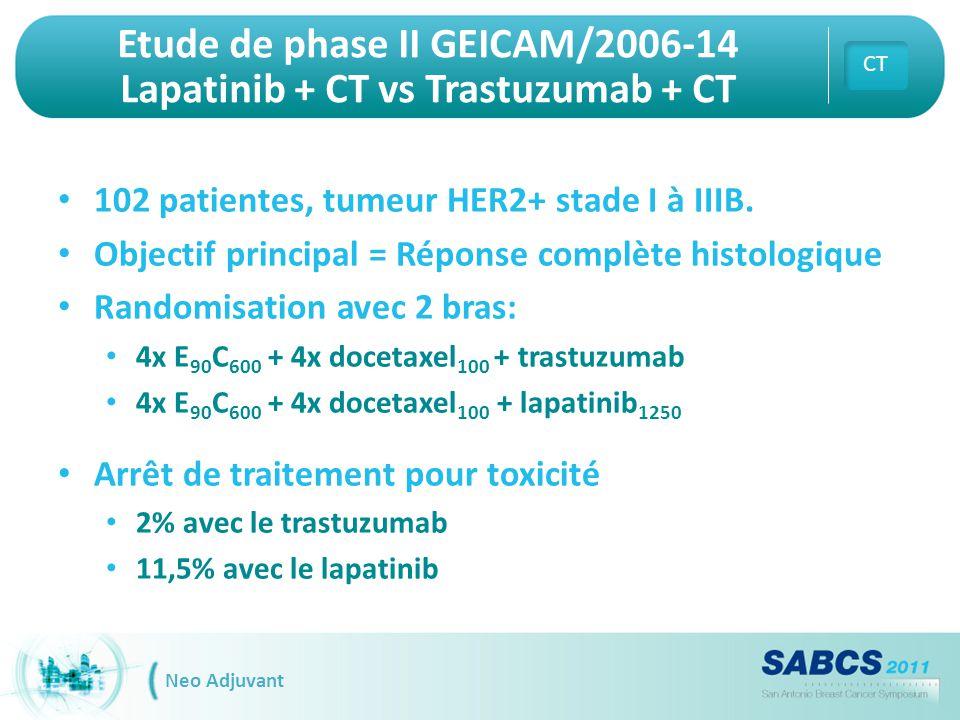 Etude de phase II GEICAM/2006-14 Lapatinib + CT vs Trastuzumab + CT 102 patientes, tumeur HER2+ stade I à IIIB. Objectif principal = Réponse complète