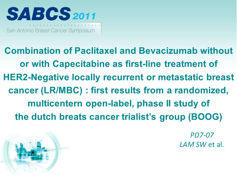 Combination of Paclitaxel and Bevacizumab without or with Capecitabine as first-line treatment of HER2-Negative locally recurrent or metastatic breast