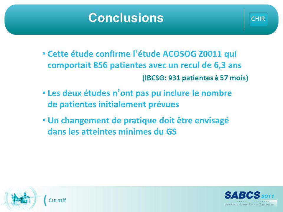 Cette étude confirme l'étude ACOSOG Z0011 qui comportait 856 patientes avec un recul de 6,3 ans (IBCSG: 931 patientes à 57 mois) Les deux études n'ont