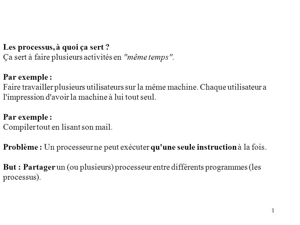 12 Quelques caractéristiques des processus Voici un résultat possible de la commande ps sous Unix/linux.