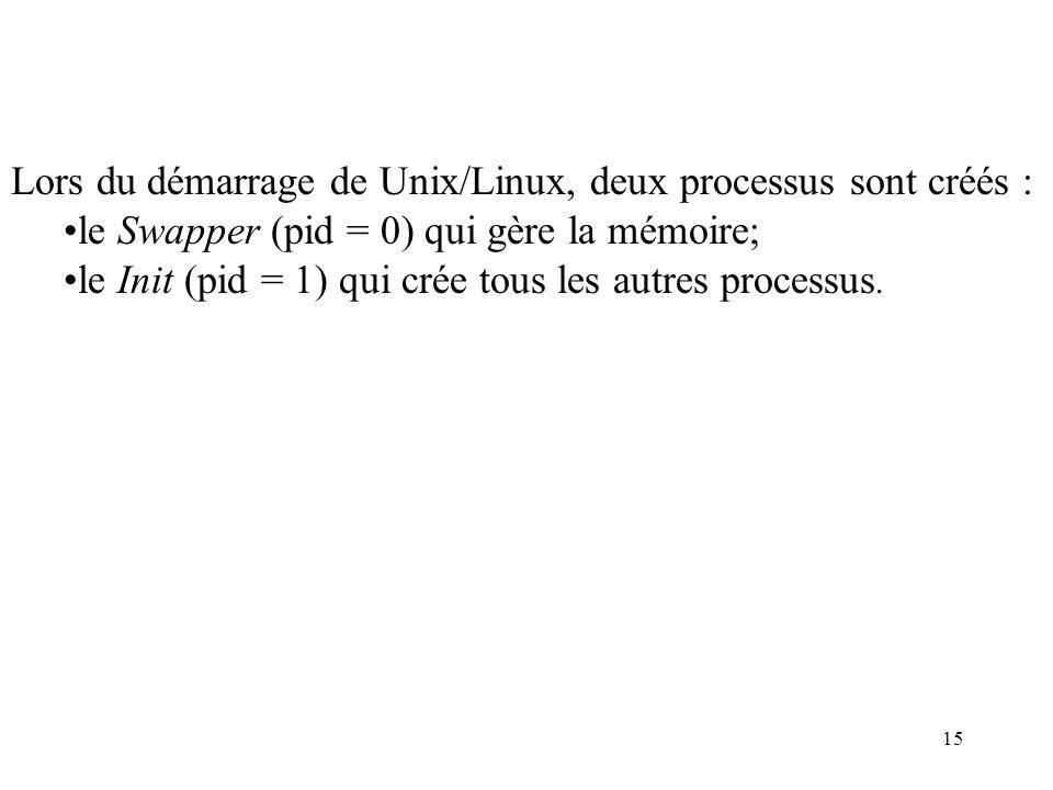 15 Lors du démarrage de Unix/Linux, deux processus sont créés : le Swapper (pid = 0) qui gère la mémoire; le Init (pid = 1) qui crée tous les autres p