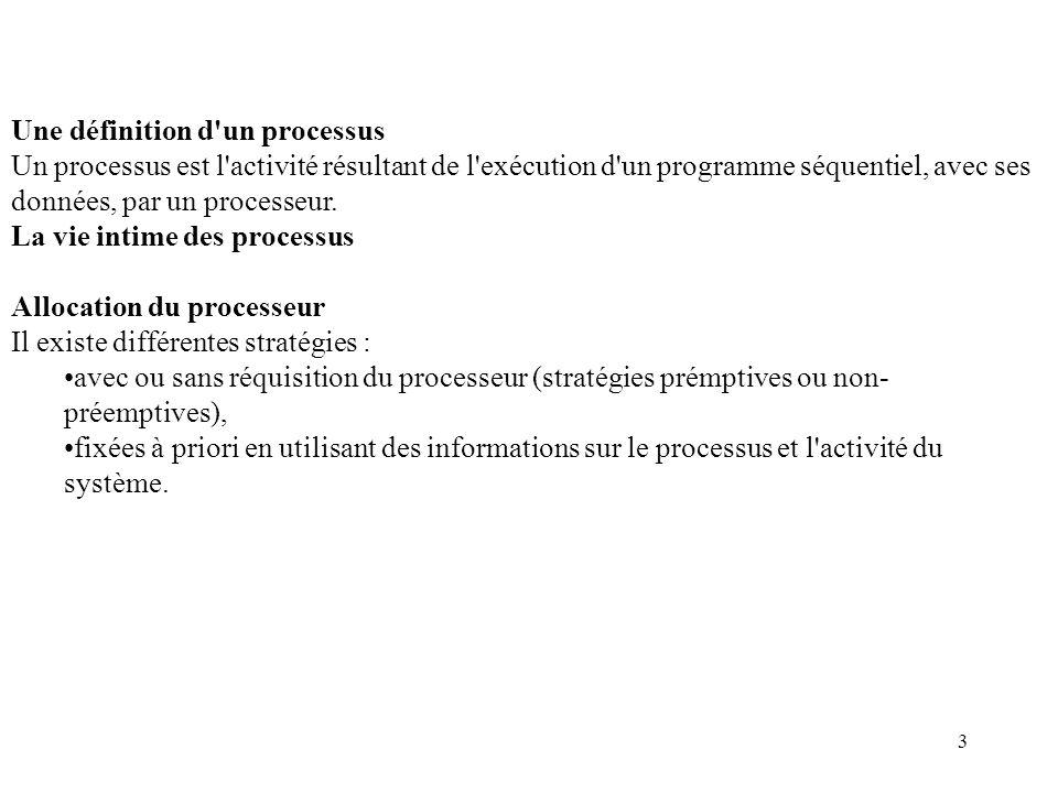 3 Une définition d'un processus Un processus est l'activité résultant de l'exécution d'un programme séquentiel, avec ses données, par un processeur. L