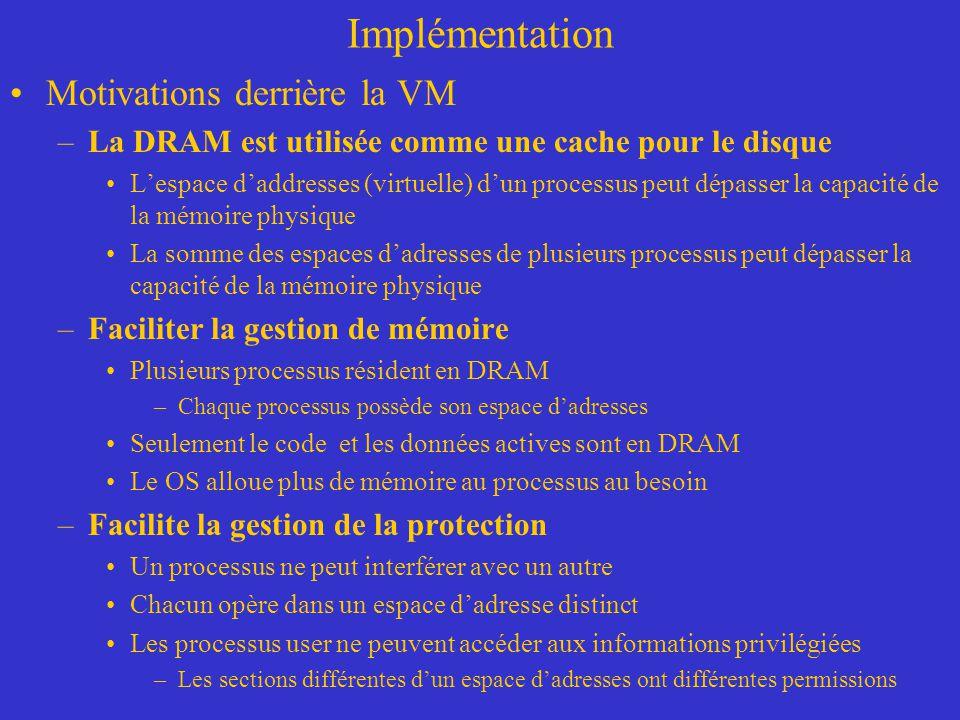 Implémentation Motivations derrière la VM –La DRAM est utilisée comme une cache pour le disque L'espace d'addresses (virtuelle) d'un processus peut dé