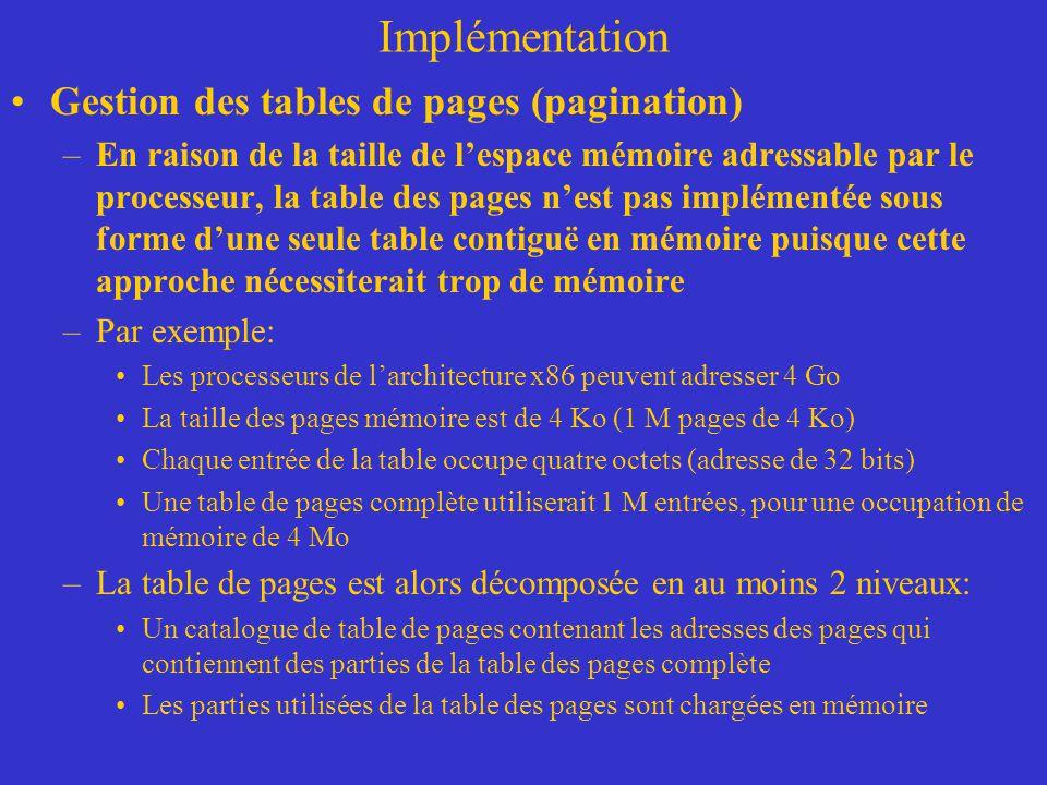 Implémentation Gestion des tables de pages (pagination) –En raison de la taille de l'espace mémoire adressable par le processeur, la table des pages n