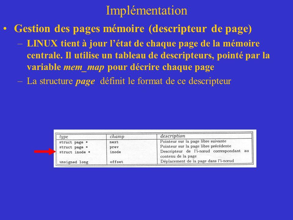 Implémentation Gestion des pages mémoire (descripteur de page) –LINUX tient à jour l'état de chaque page de la mémoire centrale. Il utilise un tableau