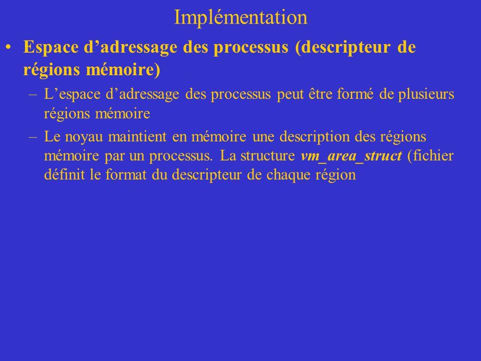 Implémentation Espace d'adressage des processus (descripteur de régions mémoire) –L'espace d'adressage des processus peut être formé de plusieurs régi
