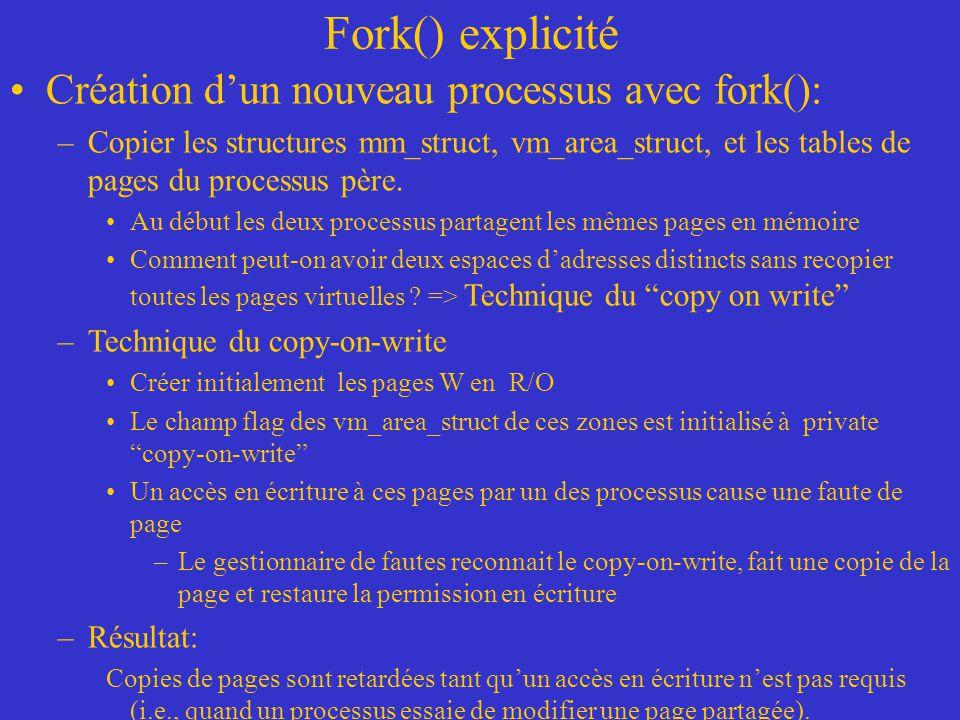 Fork() explicité Création d'un nouveau processus avec fork(): –Copier les structures mm_struct, vm_area_struct, et les tables de pages du processus pè