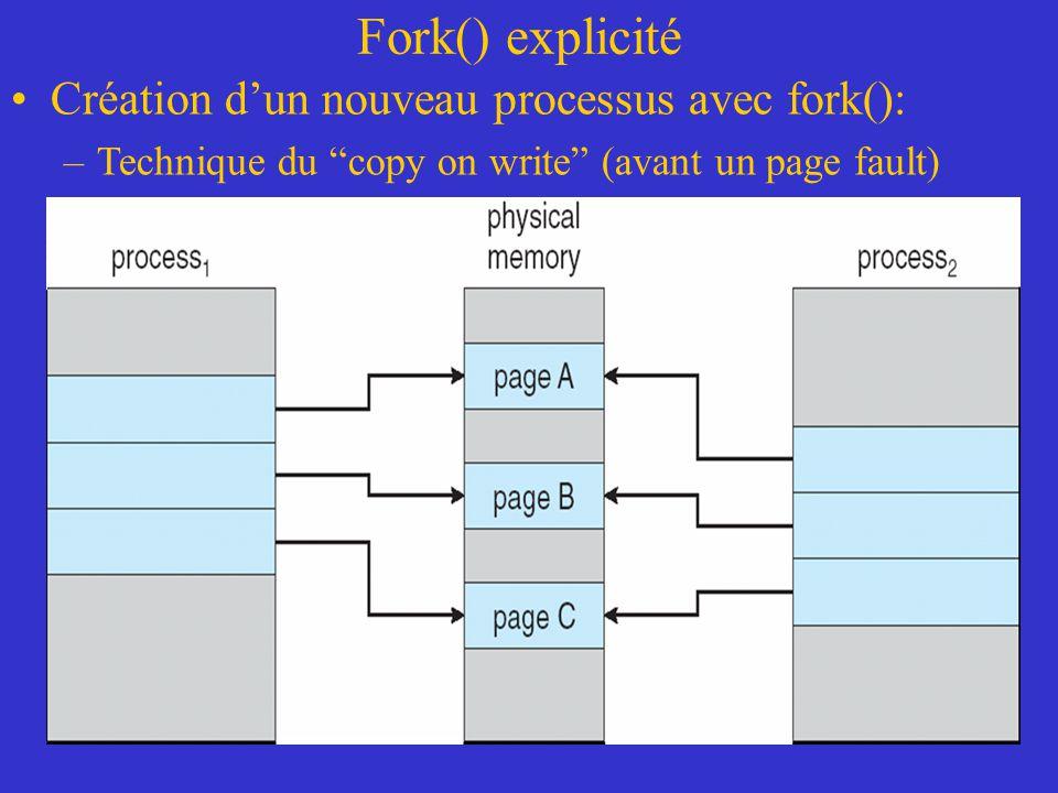 """Fork() explicité Création d'un nouveau processus avec fork(): –Technique du """"copy on write"""" (avant un page fault)"""