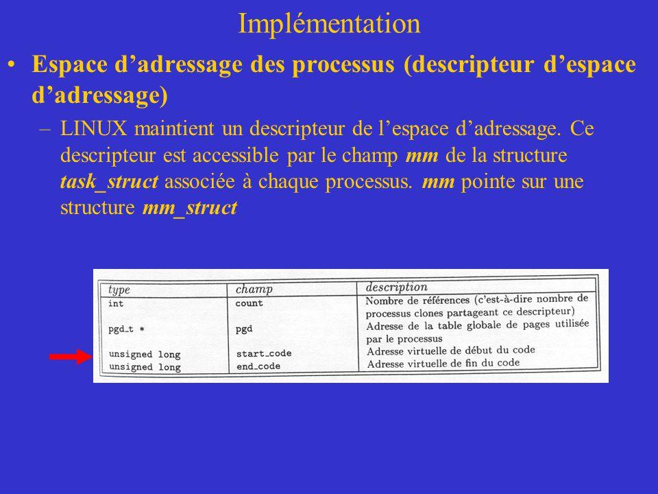 Implémentation Espace d'adressage des processus (descripteur d'espace d'adressage) –LINUX maintient un descripteur de l'espace d'adressage. Ce descrip