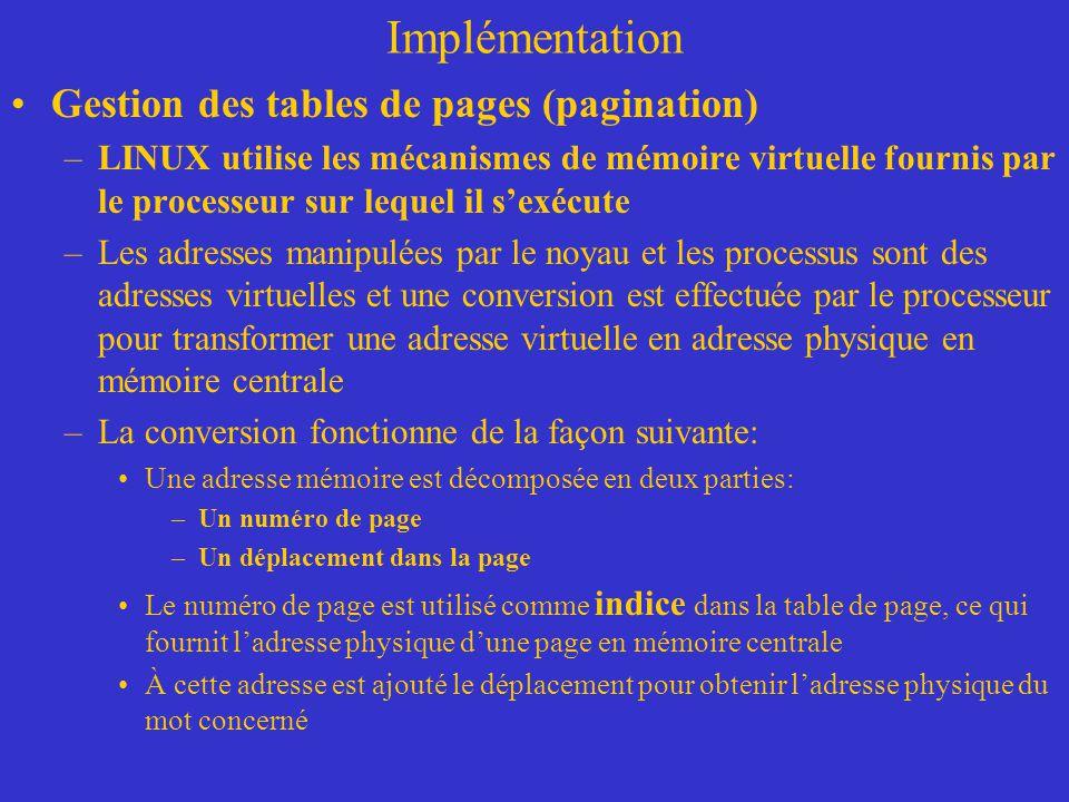 Implémentation Gestion des tables de pages (pagination) –LINUX utilise les mécanismes de mémoire virtuelle fournis par le processeur sur lequel il s'e