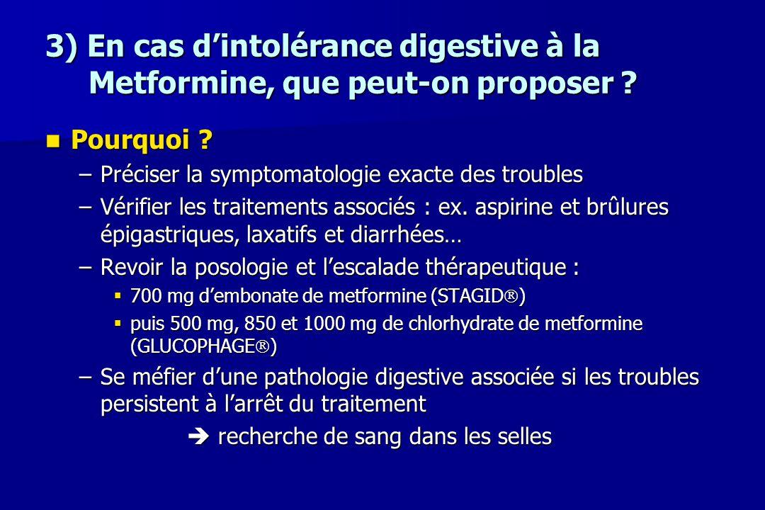 3) En cas d'intolérance digestive à la Metformine, que peut-on proposer ? Pourquoi ? Pourquoi ? –Préciser la symptomatologie exacte des troubles –Véri
