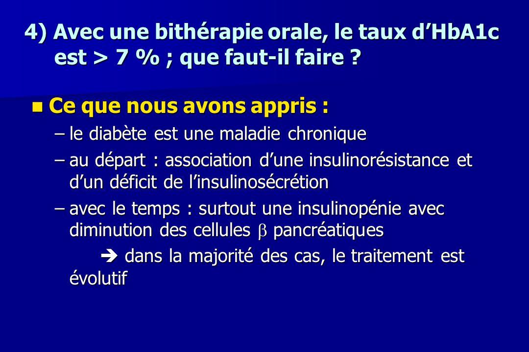 4) Avec une bithérapie orale, le taux d'HbA1c est > 7 % ; que faut-il faire ? Ce que nous avons appris : Ce que nous avons appris : –le diabète est un