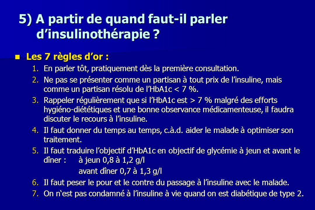 5) A partir de quand faut-il parler d'insulinothérapie ? Les 7 règles d'or : Les 7 règles d'or : 1.En parler tôt, pratiquement dès la première consult