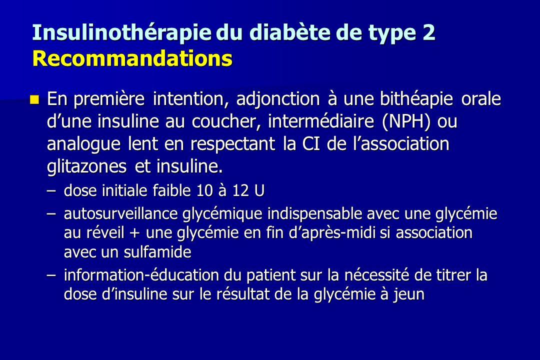 Insulinothérapie du diabète de type 2 Recommandations En première intention, adjonction à une bithéapie orale d'une insuline au coucher, intermédiaire