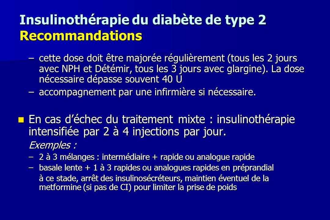 Insulinothérapie du diabète de type 2 Recommandations –cette dose doit être majorée régulièrement (tous les 2 jours avec NPH et Détémir, tous les 3 jo