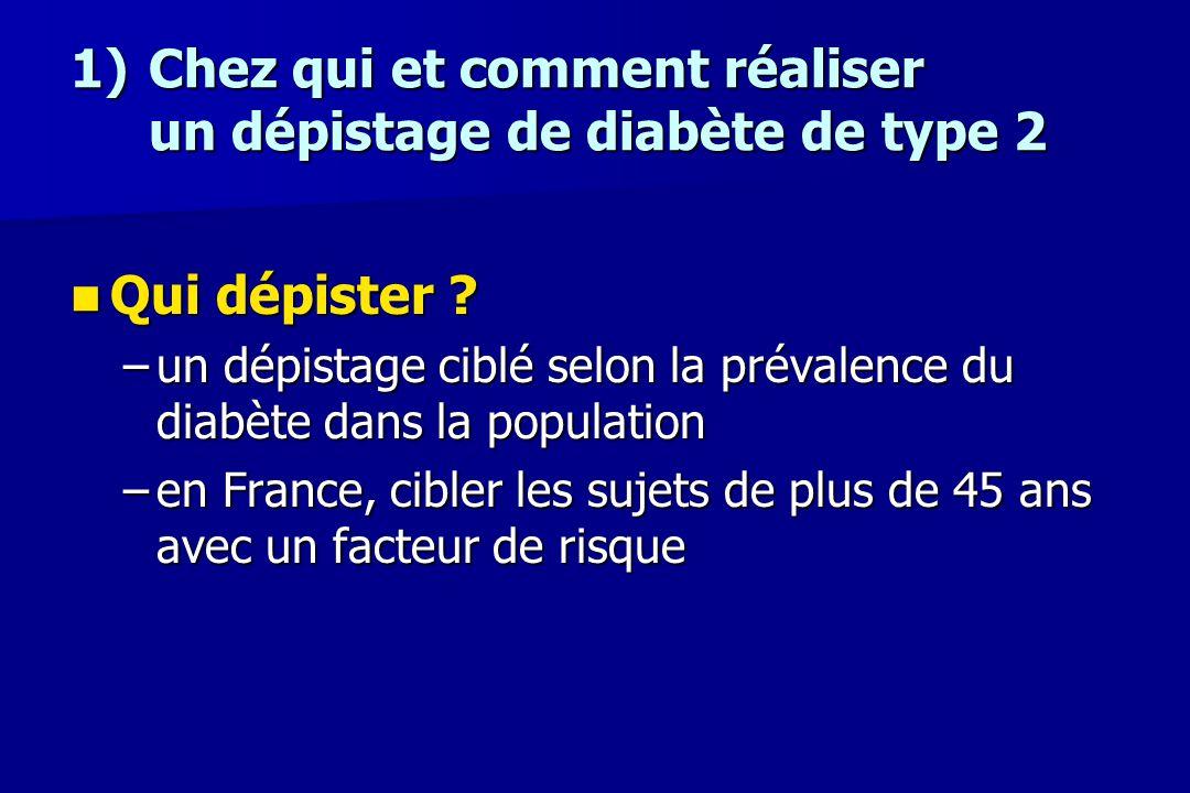 1)Chez qui et comment réaliser un dépistage de diabète de type 2 Qui dépister ? Qui dépister ? –un dépistage ciblé selon la prévalence du diabète dans
