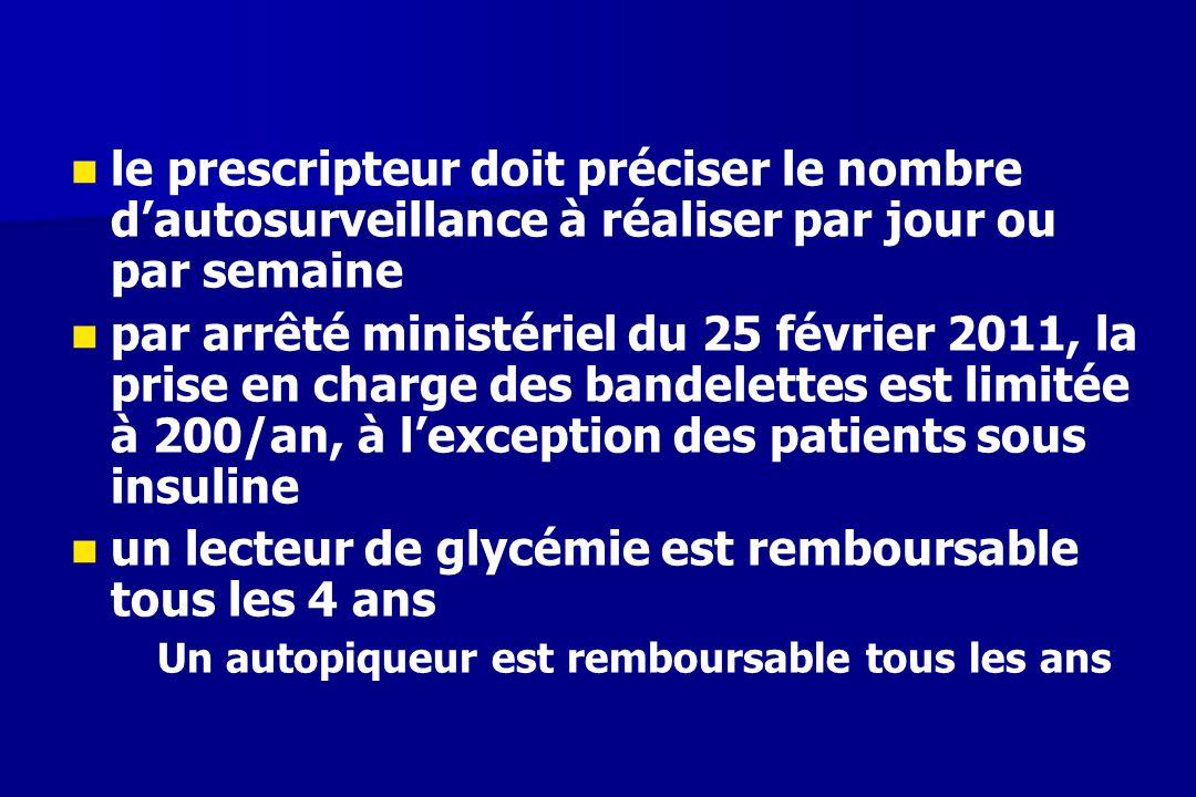 le prescripteur doit préciser le nombre d'autosurveillance à réaliser par jour ou par semaine par arrêté ministériel du 25 février 2011, la prise en c