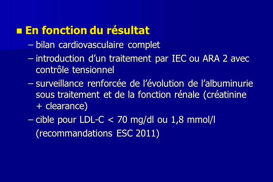 En fonction du résultat En fonction du résultat –bilan cardiovasculaire complet –introduction d'un traitement par IEC ou ARA 2 avec contrôle tensionne