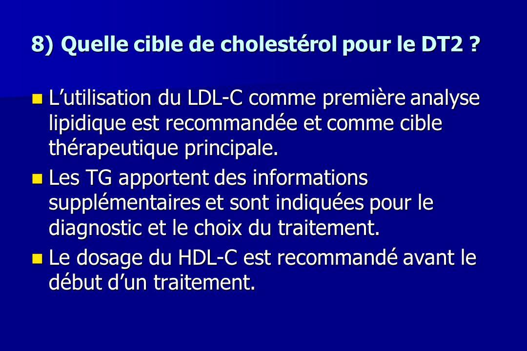 8)Quelle cible de cholestérol pour le DT2 ? L'utilisation du LDL-C comme première analyse lipidique est recommandée et comme cible thérapeutique princ