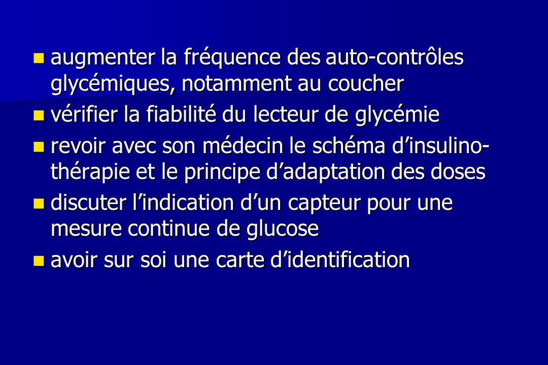 augmenter la fréquence des auto-contrôles glycémiques, notamment au coucher augmenter la fréquence des auto-contrôles glycémiques, notamment au couche