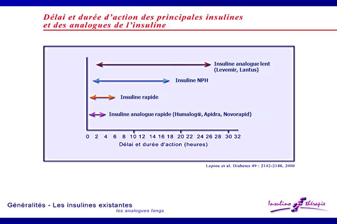 Insuline analogue lent (Levemir, Lantus) Insuline analogue rapide (Humalog , Apidra, Novorapid) Insuline NPH Insuline rapide