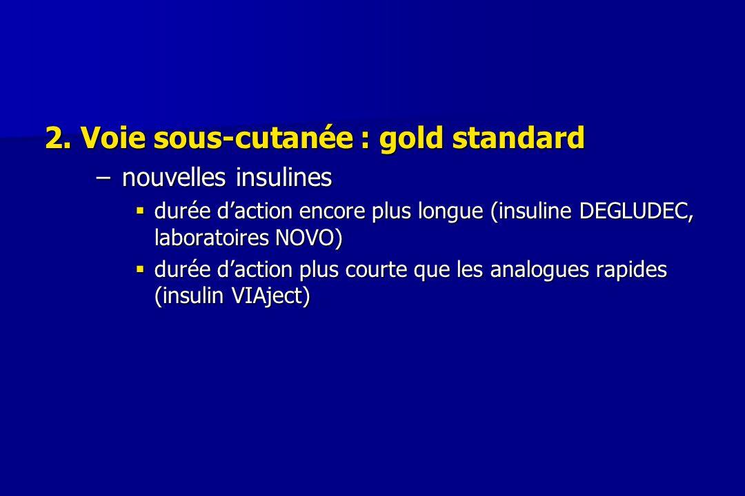 2. Voie sous-cutanée : gold standard –nouvelles insulines  durée d'action encore plus longue (insuline DEGLUDEC, laboratoires NOVO)  durée d'action