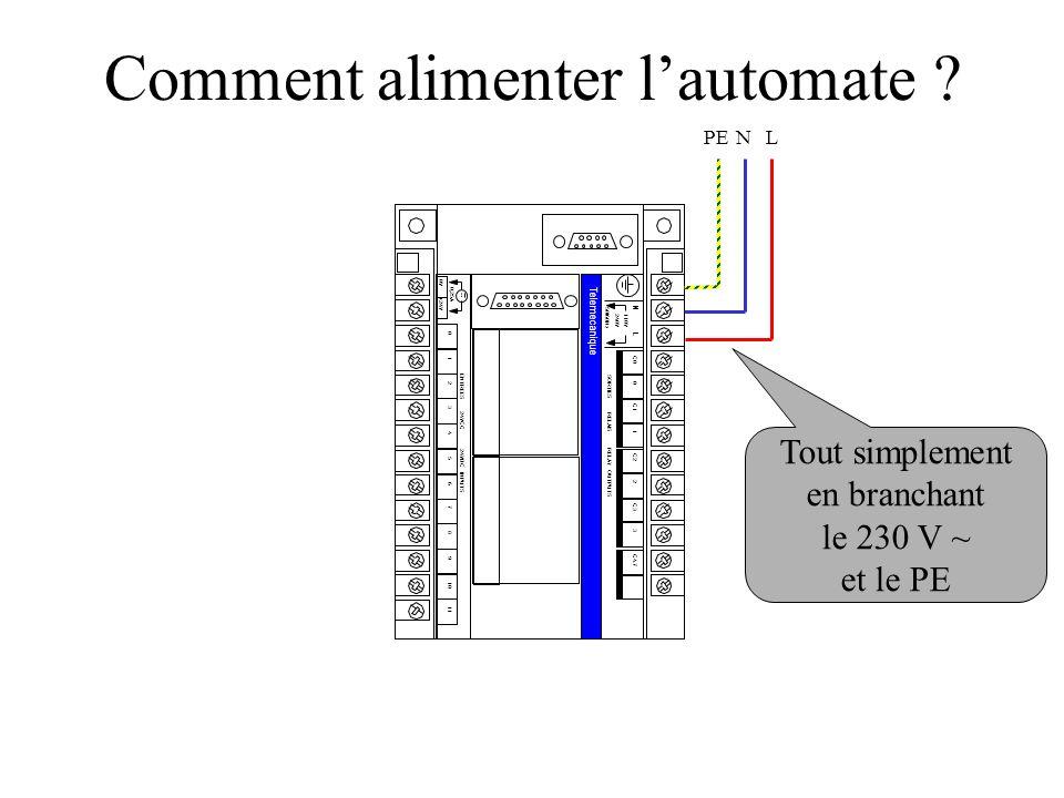 0V +24V 0,25A 0 1 2 3 4 5 6 7 8 9 10 11 ENTREES 24VCC 24VDC INPUTS Telemecanique N L 110V240V 50/60Hz C0 0 C1 1 SORTIES RELAIS RELAY OUTPUTS C2 2 C3 3 C4.7 Comment alimenter l'automate .