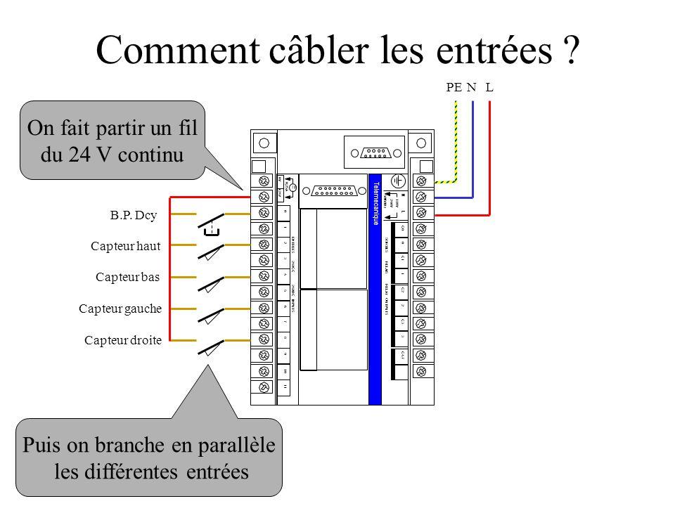 0V +24V 0,25A 0 1 2 3 4 5 6 7 8 9 10 11 ENTREES 24VCC 24VDC INPUTS Telemecanique N L 110V240V 50/60Hz C0 0 C1 1 SORTIES RELAIS RELAY OUTPUTS C2 2 C3 3 C4.7 Capteur haut Capteur bas Capteur gauche B.P.