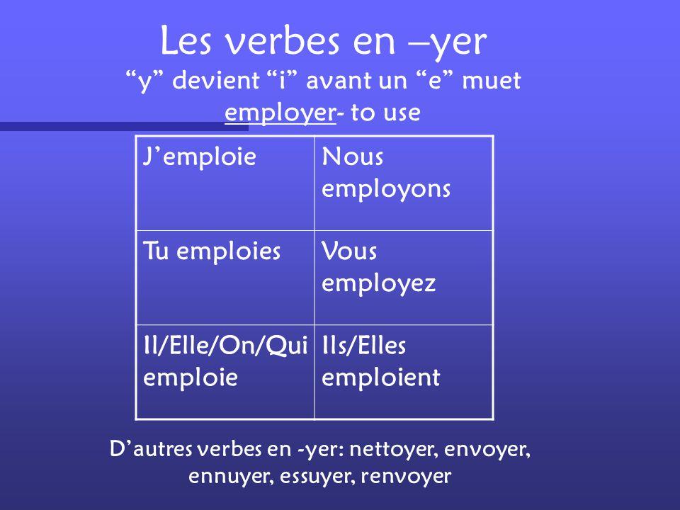 """Les verbes en –ger """"e"""" muet se trouve entre """"g"""" et """"o"""" (prononcez « g » comme « je ») bouger- to move Je bougeNous bougeons Tu bougesVous bougez Il/El"""